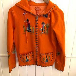Lucky. Rand orange embroidered hoodie sweatshirt